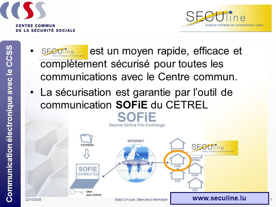 7 02/10/2008Statut Unique - Séances d'information SECUline est un moyen rapide, efficace et complètement sécurisé pour toutes les communications avec