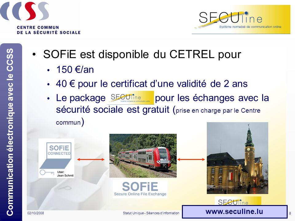 8 02/10/2008Statut Unique - Séances d'information SECUline SOFiE est disponible du CETREL pour 150 /an 40 pour le certificat dune validité de 2 ans Le