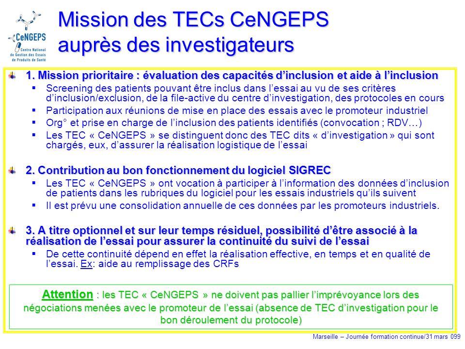 Marseille – Journée formation continue/31 mars 099 Mission des TECs CeNGEPS auprès des investigateurs 1.