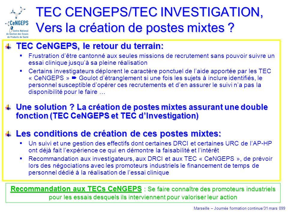 Marseille – Journée formation continue/31 mars 099 TEC CENGEPS/TEC INVESTIGATION, Vers la création de postes mixtes .