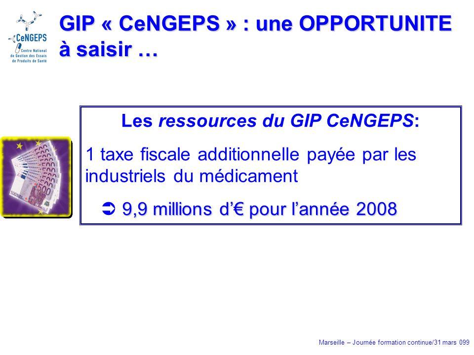 Marseille – Journée formation continue/31 mars 099 GIP « CeNGEPS » : une OPPORTUNITE à saisir … Les ressources du GIP CeNGEPS: 1 taxe fiscale additionnelle payée par les industriels du médicament 9,9 millions d pour lannée 2008