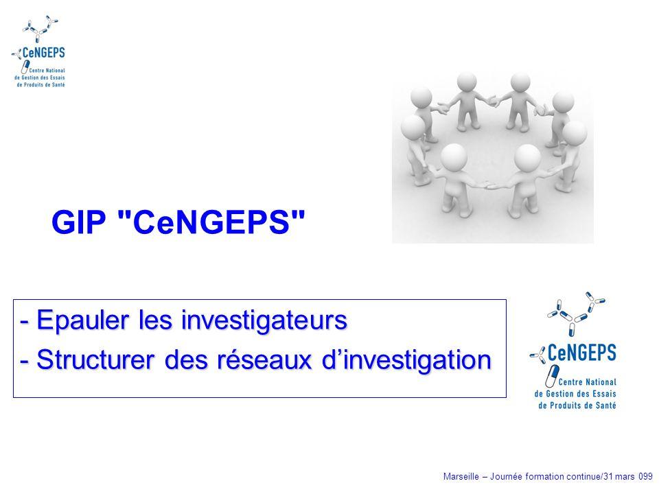 Marseille – Journée formation continue/31 mars 099 - Epauler les investigateurs - Structurer des réseaux dinvestigation GIP CeNGEPS