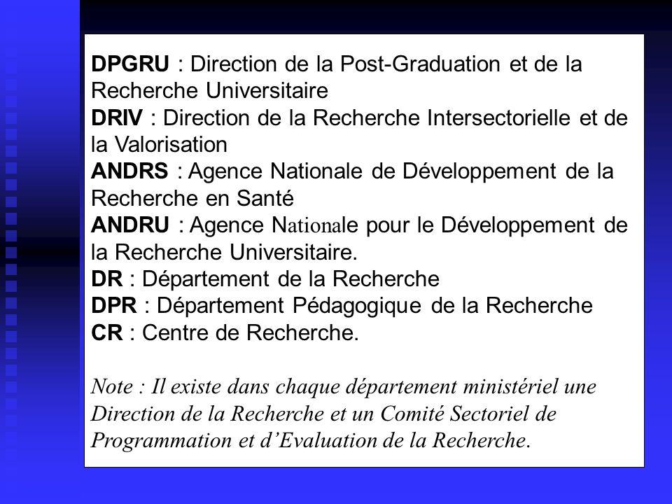 DCR : Direction de la Coordination de la Recherche DPGRU : Direction de la Post-Graduation et de la Recherche Universitaire DRIV : Direction de la Rec