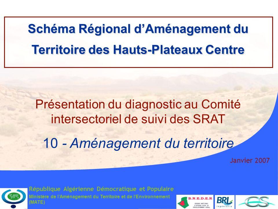 Ministère de lAménagement du Territoire et de lEnvironnement (MATE) Janvier 2007 Schéma Régional dAménagement du Territoire des Hauts-Plateaux Centre