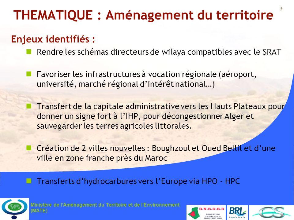 3 Ministère de lAménagement du Territoire et de lEnvironnement (MATE) THEMATIQUE : Aménagement du territoire Enjeux identifiés : Rendre les schémas di
