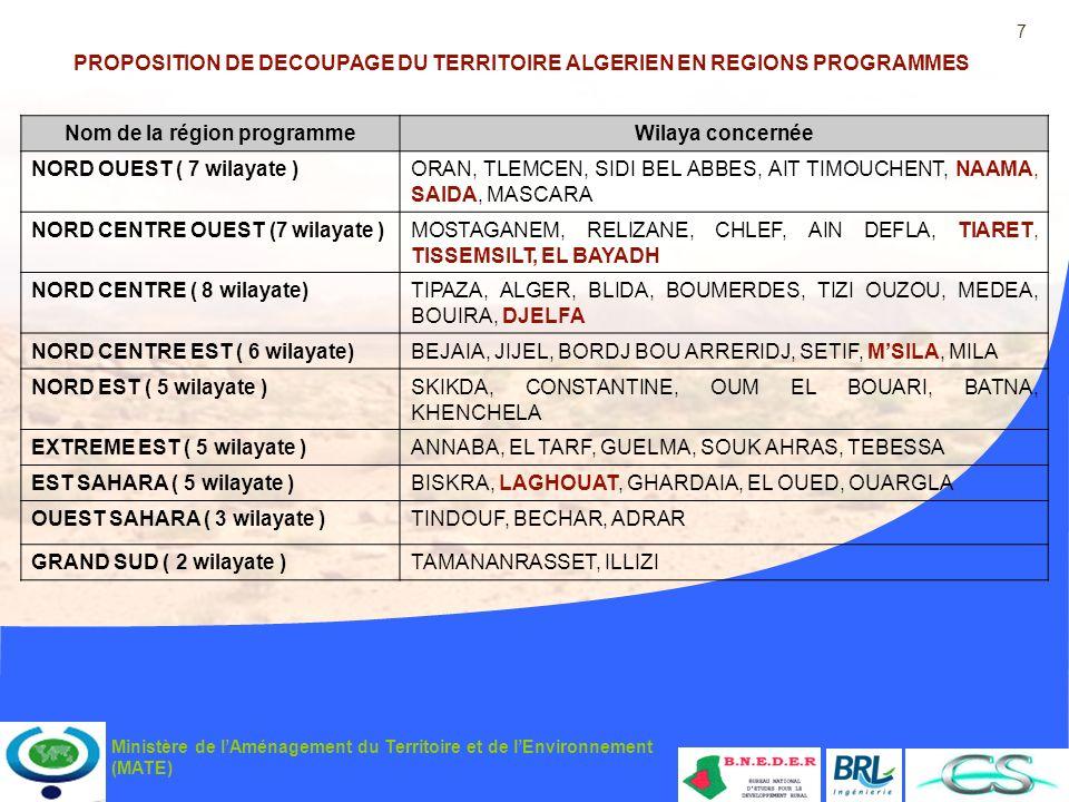 7 Ministère de lAménagement du Territoire et de lEnvironnement (MATE) PROPOSITION DE DECOUPAGE DU TERRITOIRE ALGERIEN EN REGIONS PROGRAMMES Nom de la