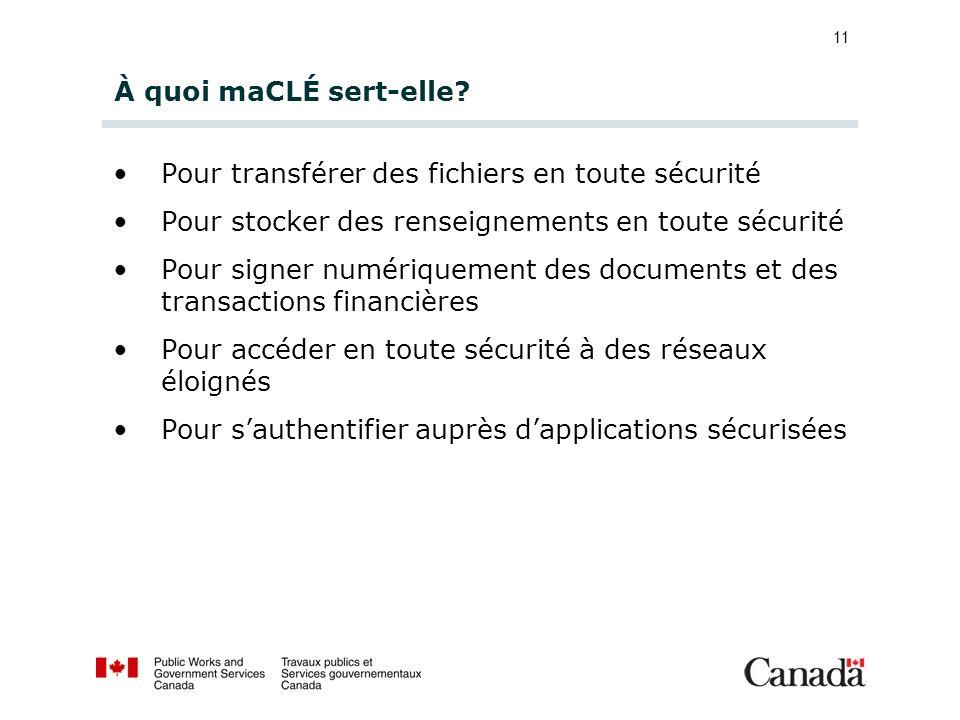 11 À quoi maCLÉ sert-elle? Pour transférer des fichiers en toute sécurité Pour stocker des renseignements en toute sécurité Pour signer numériquement