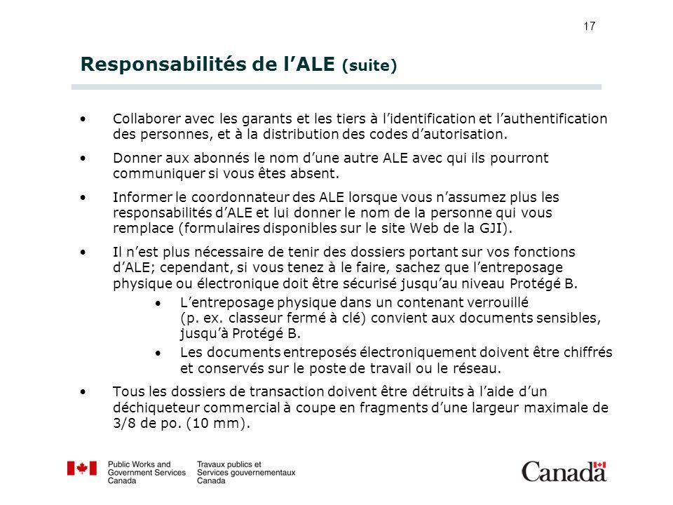 17 Responsabilités de lALE (suite) Collaborer avec les garants et les tiers à lidentification et lauthentification des personnes, et à la distribution