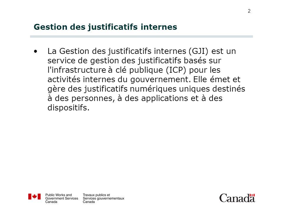 2 Gestion des justificatifs internes La Gestion des justificatifs internes (GJI) est un service de gestion des justificatifs basés sur l'infrastructur