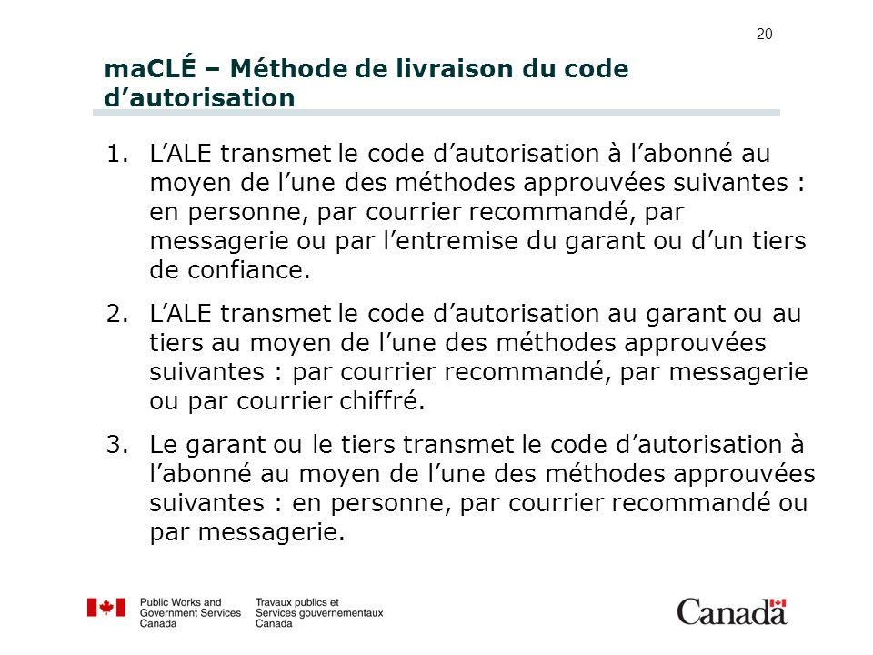 maCLÉ – Méthode de livraison du code dautorisation 1.LALE transmet le code dautorisation à labonné au moyen de lune des méthodes approuvées suivantes