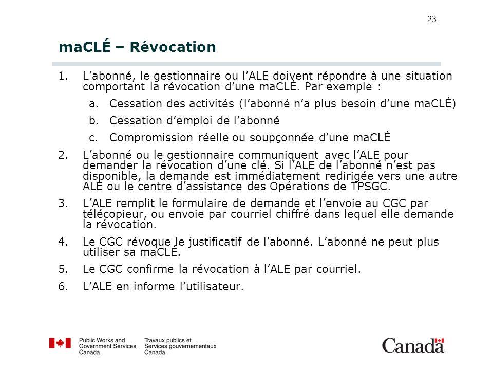 23 maCLÉ – Révocation 1.Labonné, le gestionnaire ou lALE doivent répondre à une situation comportant la révocation dune maCLÉ. Par exemple : a.Cessati