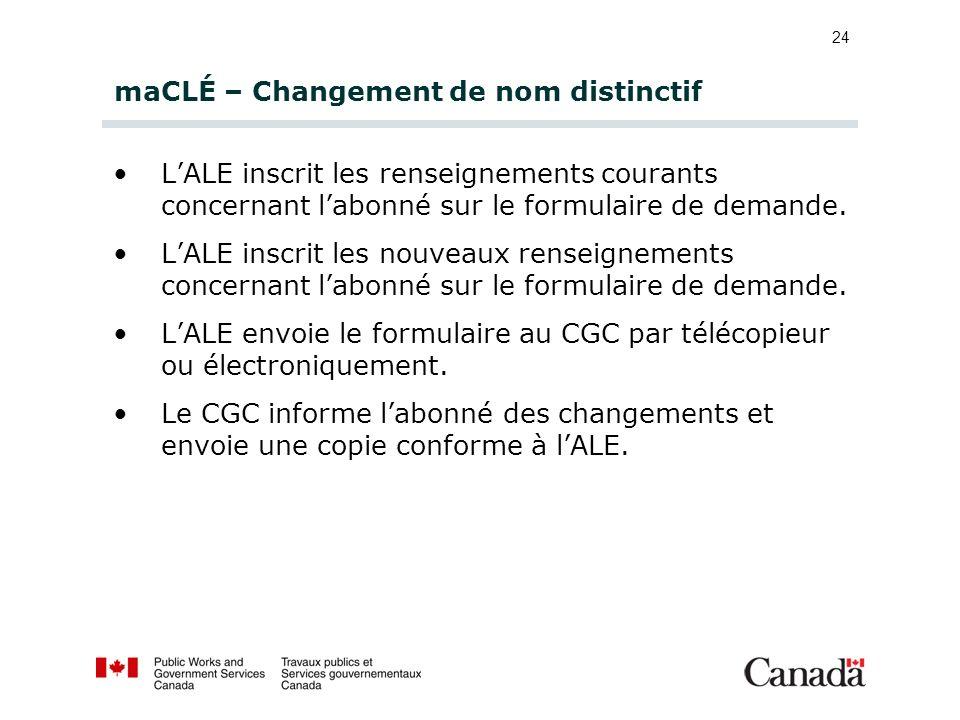 24 maCLÉ – Changement de nom distinctif LALE inscrit les renseignements courants concernant labonné sur le formulaire de demande. LALE inscrit les nou