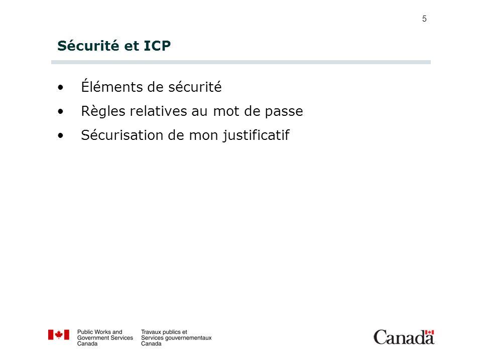 5 Sécurité et ICP Éléments de sécurité Règles relatives au mot de passe Sécurisation de mon justificatif