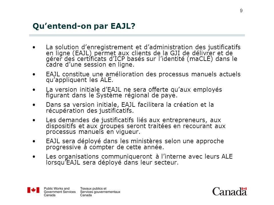 9 Quentend-on par EAJL? La solution denregistrement et dadministration des justificatifs en ligne (EAJL) permet aux clients de la GJI de délivrer et d