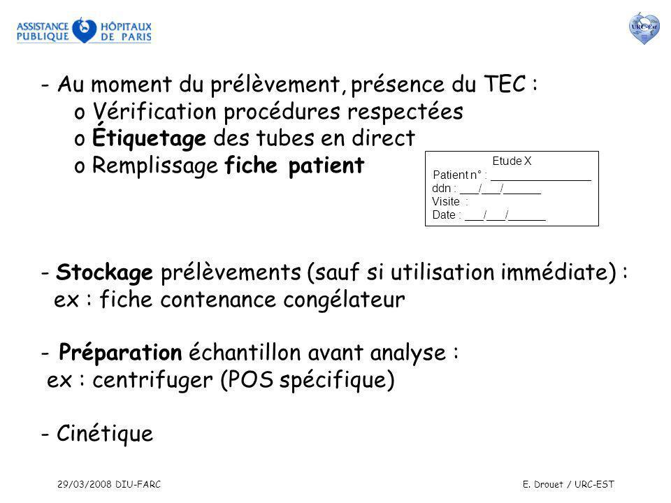 29/03/2008 DIU-FARCE. Drouet / URC-EST - Au moment du prélèvement, présence du TEC : o Vérification procédures respectées o Étiquetage des tubes en di