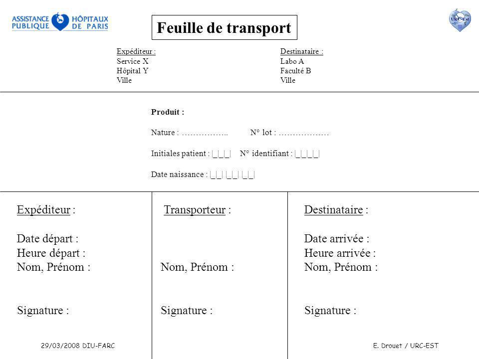 29/03/2008 DIU-FARCE. Drouet / URC-EST Feuille de transport Expéditeur : Service X Hôpital Y Ville Destinataire : Labo A Faculté B Ville Produit : Nat