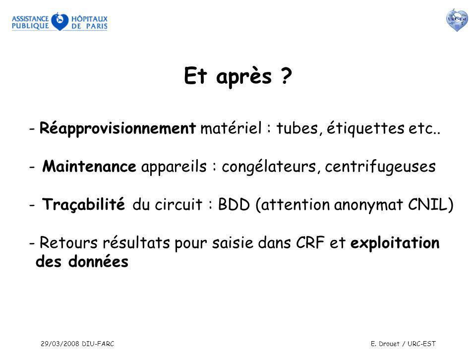 29/03/2008 DIU-FARCE. Drouet / URC-EST - Réapprovisionnement matériel : tubes, étiquettes etc.. - Maintenance appareils : congélateurs, centrifugeuses
