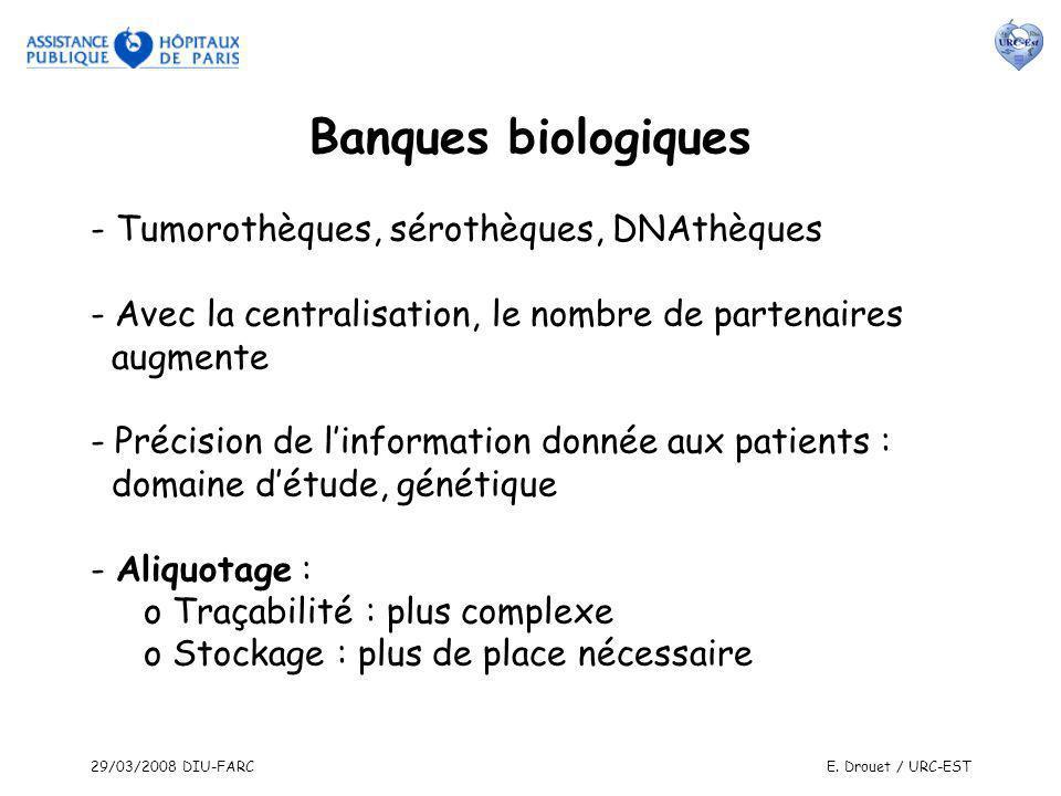 29/03/2008 DIU-FARCE. Drouet / URC-EST Banques biologiques - Tumorothèques, sérothèques, DNAthèques - Avec la centralisation, le nombre de partenaires