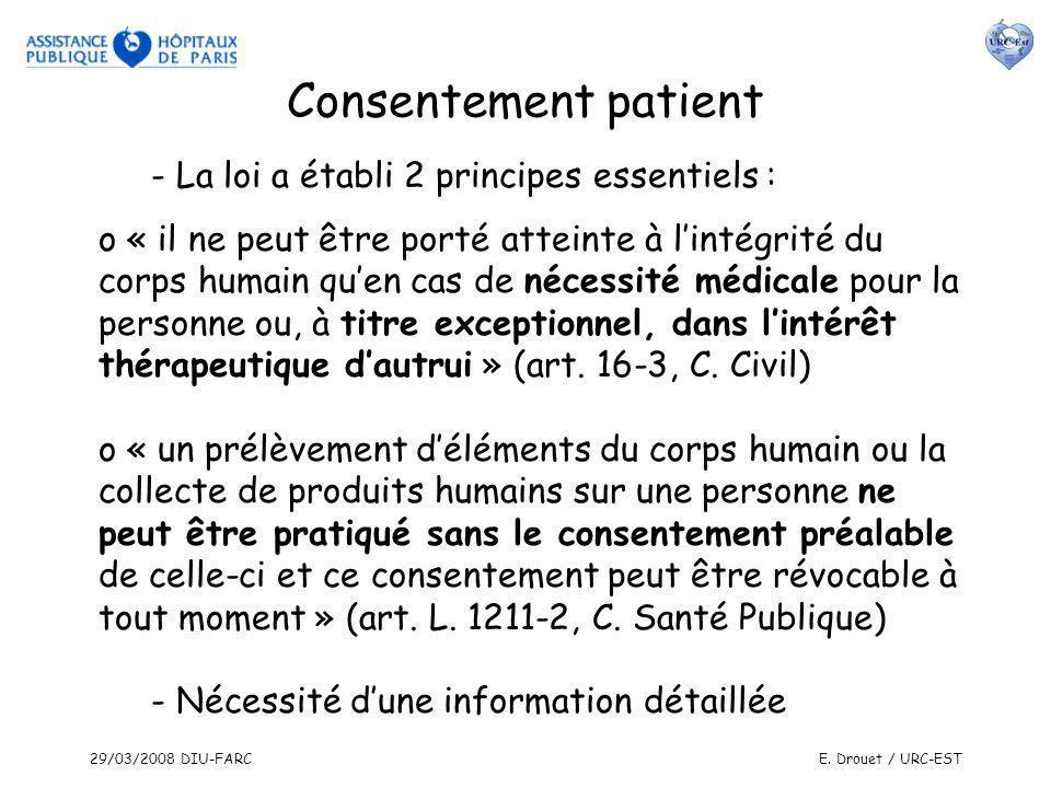 29/03/2008 DIU-FARCE. Drouet / URC-EST Consentement patient - La loi a établi 2 principes essentiels : o « il ne peut être porté atteinte à lintégrité