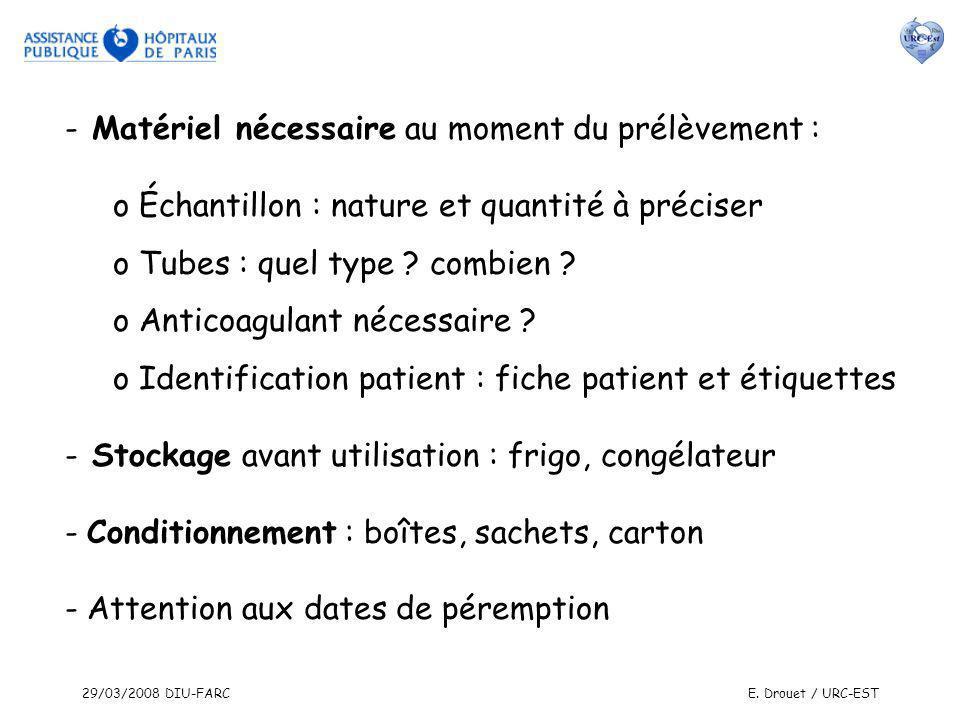 29/03/2008 DIU-FARCE. Drouet / URC-EST - Matériel nécessaire au moment du prélèvement : o Échantillon : nature et quantité à préciser o Tubes : quel t