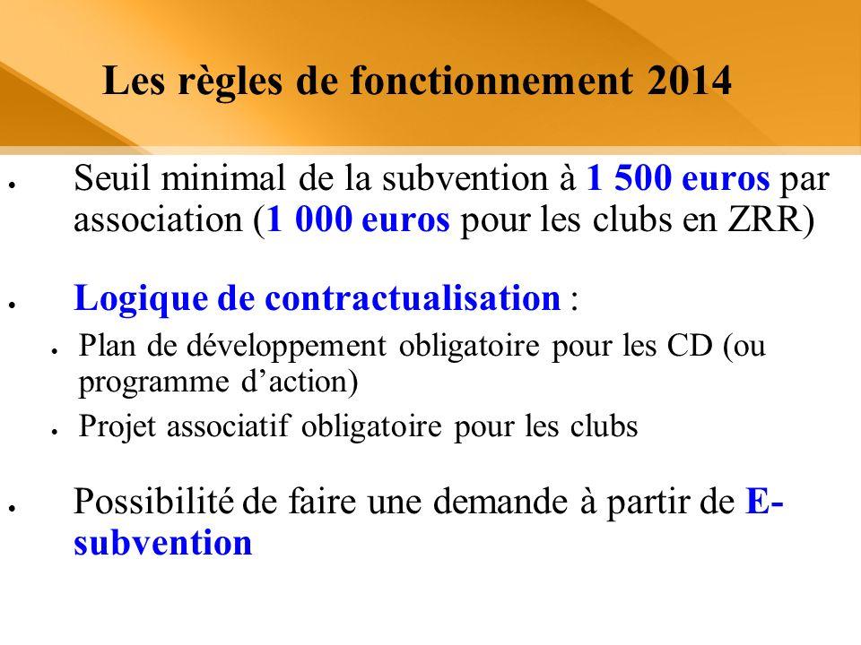 Les règles de fonctionnement 2014 Seuil minimal de la subvention à 1 500 euros par association (1 000 euros pour les clubs en ZRR) Logique de contract