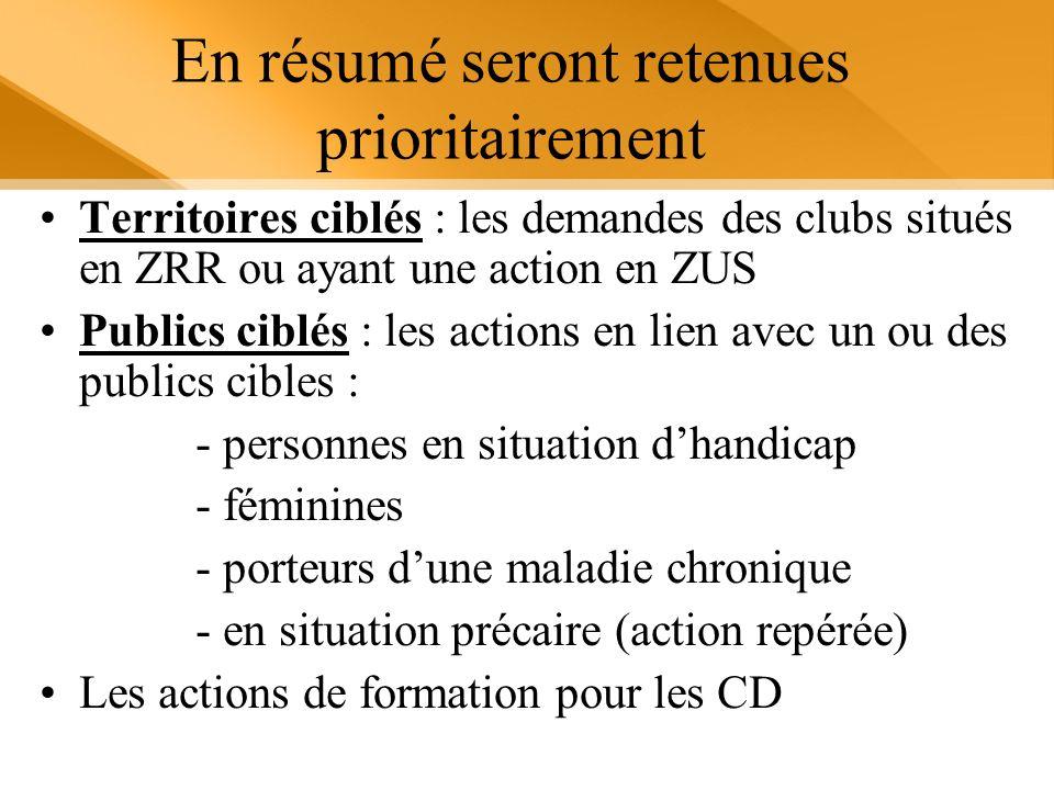 En résumé seront retenues prioritairement Territoires ciblés : les demandes des clubs situés en ZRR ou ayant une action en ZUS Publics ciblés : les ac