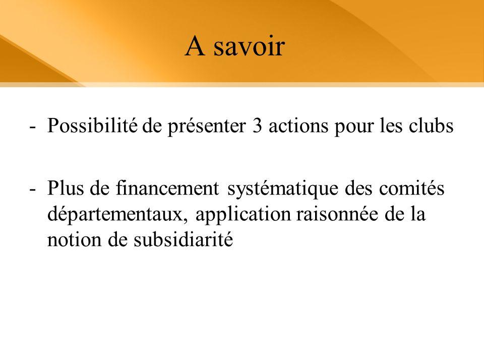 A savoir -Possibilité de présenter 3 actions pour les clubs -Plus de financement systématique des comités départementaux, application raisonnée de la