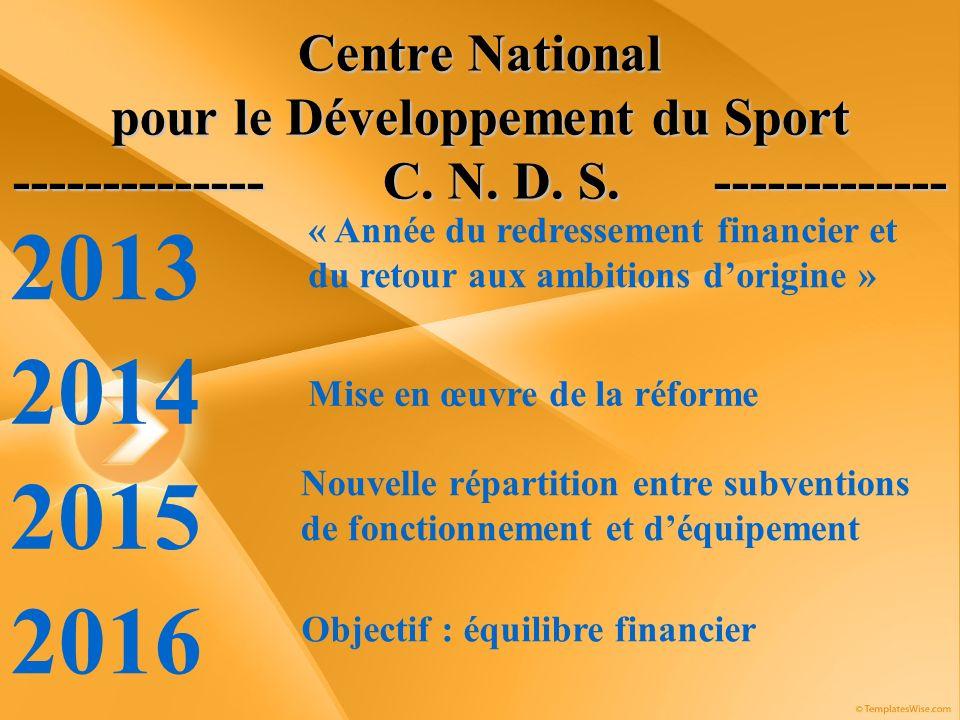 Centre National pour le Développement du Sport -------------- C. N. D. S. ------------- 2013 « Année du redressement financier et du retour aux ambiti