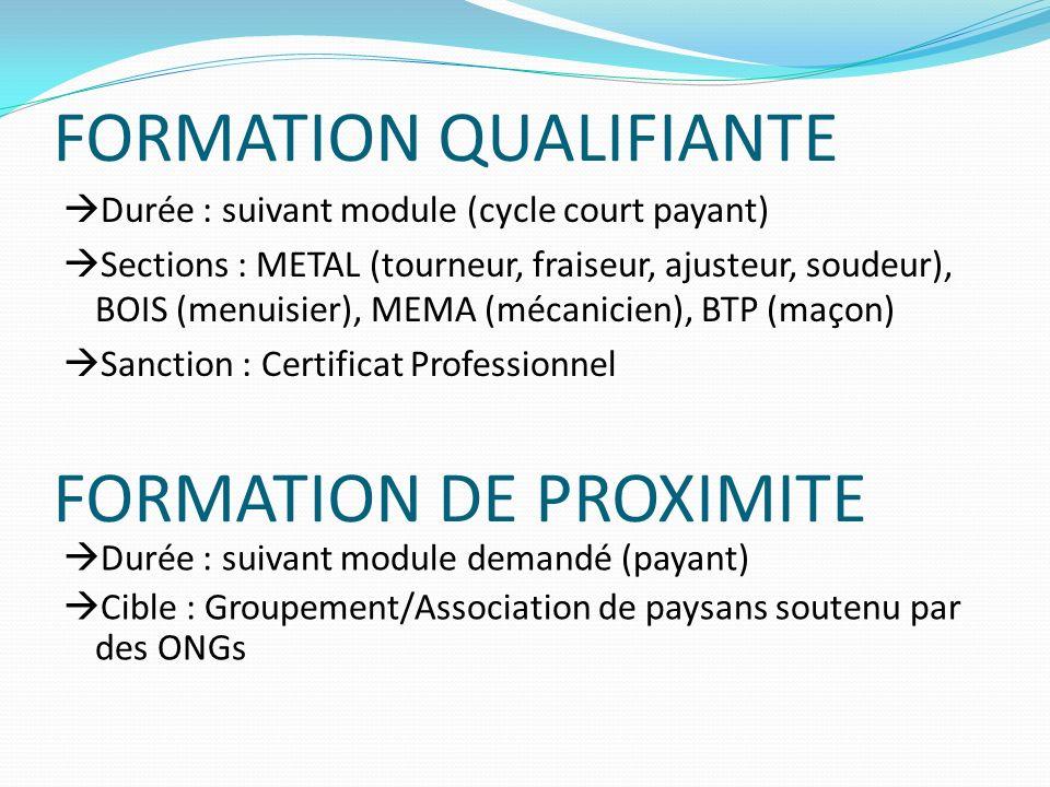 FORMATION QUALIFIANTE Durée : suivant module (cycle court payant) Sections : METAL (tourneur, fraiseur, ajusteur, soudeur), BOIS (menuisier), MEMA (mé