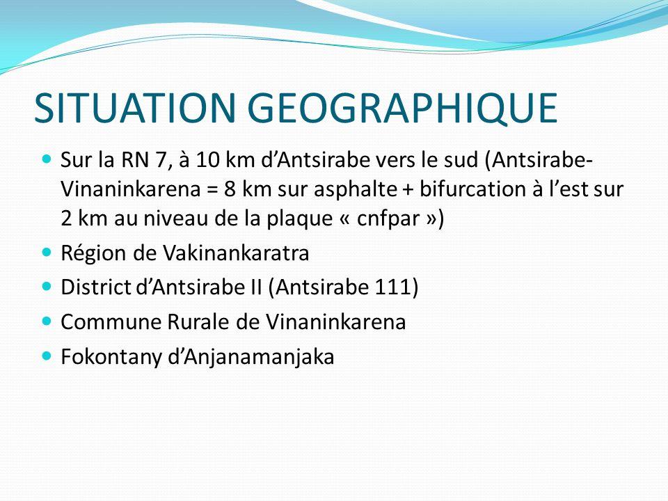 SITUATION GEOGRAPHIQUE Sur la RN 7, à 10 km dAntsirabe vers le sud (Antsirabe- Vinaninkarena = 8 km sur asphalte + bifurcation à lest sur 2 km au nive