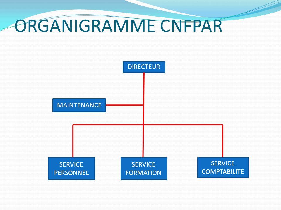 ORGANIGRAMME CNFPAR DIRECTEUR MAINTENANCE SERVICE PERSONNEL SERVICE FORMATION SERVICE COMPTABILITE