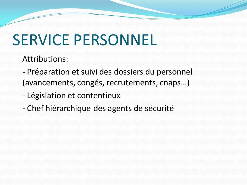 SERVICE PERSONNEL Attributions: - Préparation et suivi des dossiers du personnel (avancements, congés, recrutements, cnaps…) - Législation et contenti