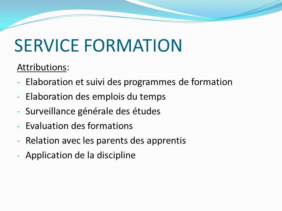 SERVICE FORMATION Attributions: - Elaboration et suivi des programmes de formation - Elaboration des emplois du temps - Surveillance générale des étud