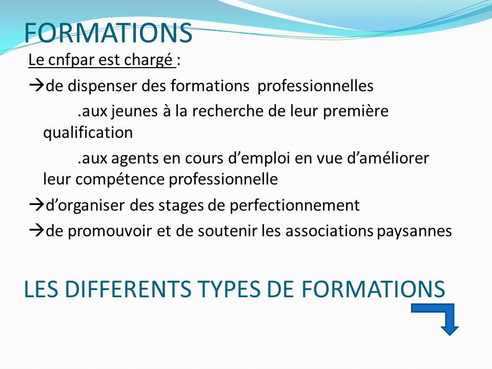 FORMATIONS Le cnfpar est chargé : de dispenser des formations professionnelles.aux jeunes à la recherche de leur première qualification.aux agents en