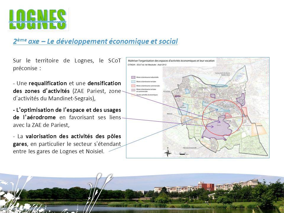 Sur le territoire de Lognes, le SCoT préconise : - Une requalification et une densification des zones dactivités (ZAE Pariest, zone dactivités du Mandinet-Segrais), - Loptimisation de lespace et des usages de laérodrome en favorisant ses liens avec la ZAE de Pariest, - La valorisation des activités des pôles gares, en particulier le secteur sétendant entre les gares de Lognes et Noisiel.