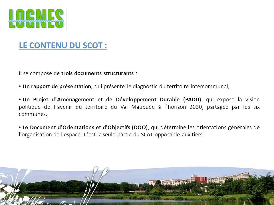 LE CONTENU DU SCOT : Il se compose de trois documents structurants : Un rapport de présentation, qui présente le diagnostic du territoire intercommunal, Un Projet dAménagement et de Développement Durable (PADD), qui expose la vision politique de lavenir du territoire du Val Maubuée à lhorizon 2030, partagée par les six communes, Le Document dOrientations et dObjectifs (DOO), qui détermine les orientations générales de lorganisation de lespace.