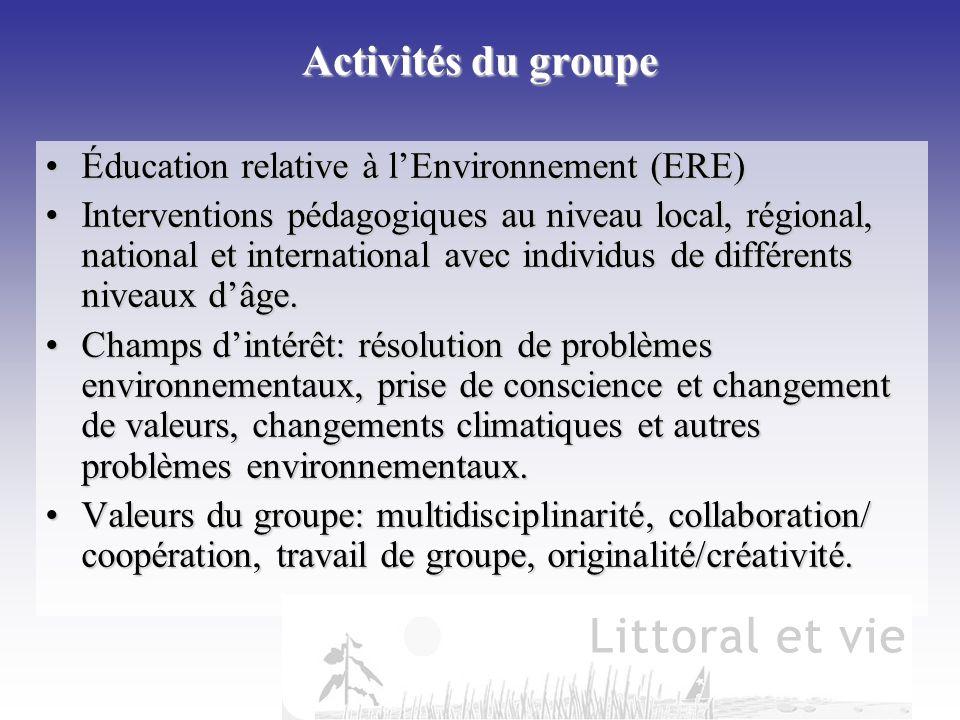 Activités du groupe Éducation relative à lEnvironnement (ERE)Éducation relative à lEnvironnement (ERE) Interventions pédagogiques au niveau local, rég