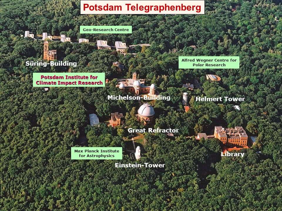 Geo-Research Centre Potsdam Institute for Climate Impact Research Einstein-Tower Great Refractor Helmert Tower Michelson-Building Süring-Building Libr