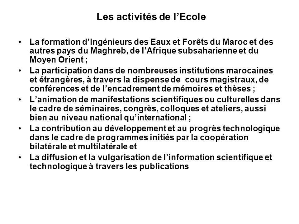 Les activités de lEcole La formation dIngénieurs des Eaux et Forêts du Maroc et des autres pays du Maghreb, de lAfrique subsaharienne et du Moyen Orie