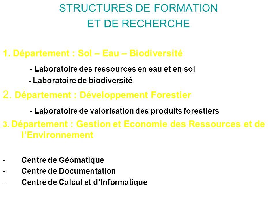 STRUCTURES DE FORMATION ET DE RECHERCHE 1. Département : Sol – Eau – Biodiversité - Laboratoire des ressources en eau et en sol - Laboratoire de biodi