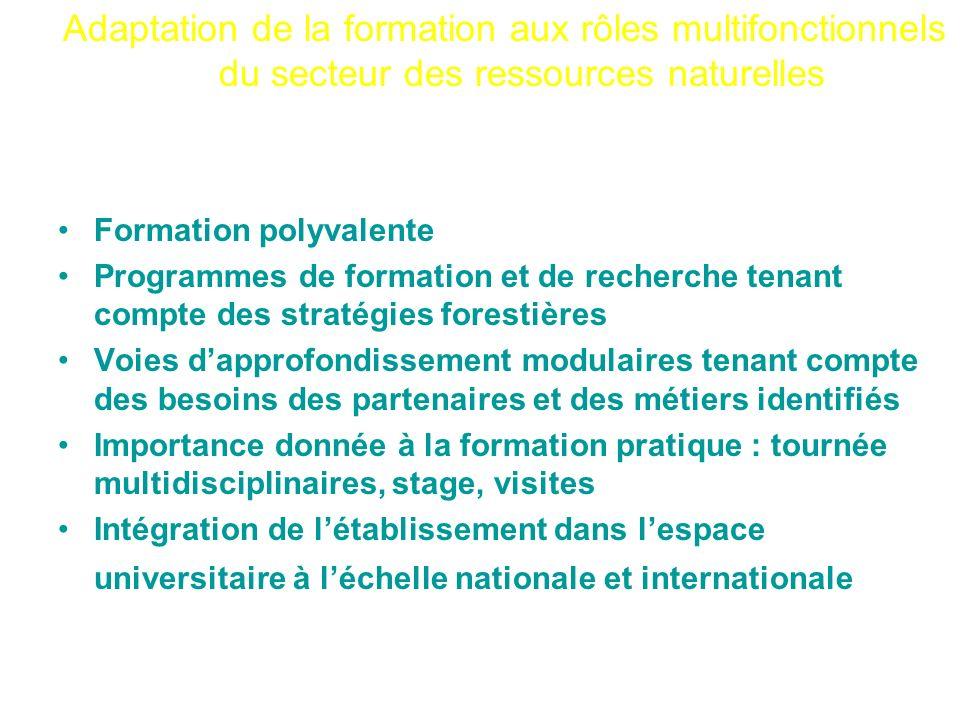 Adaptation de la formation aux rôles multifonctionnels du secteur des ressources naturelles Formation polyvalente Programmes de formation et de recher