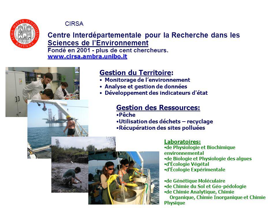 Centre Interdépartementale pour la Recherche dans les Sciences de lEnvironnement Fondé en 2001 - plus de cent chercheurs.www.cirsa.ambra.unibo.it CIRS