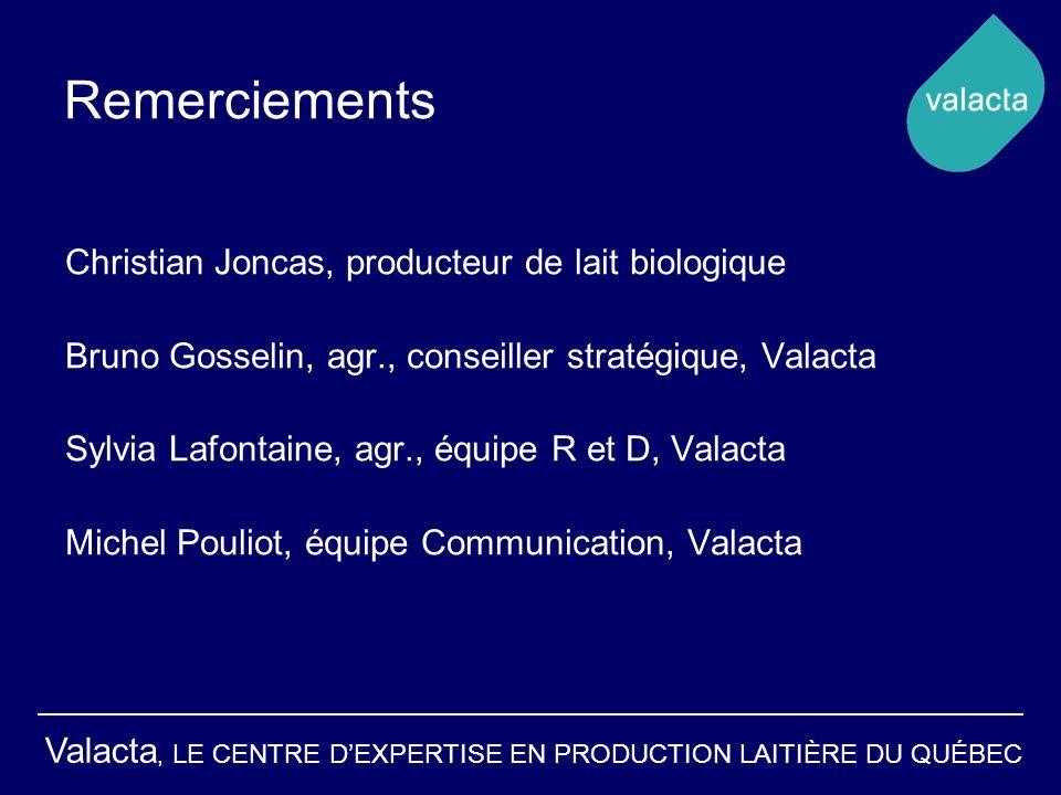 Valacta, LE CENTRE DEXPERTISE EN PRODUCTION LAITIÈRE DU QUÉBEC Remerciements Christian Joncas, producteur de lait biologique Bruno Gosselin, agr., con