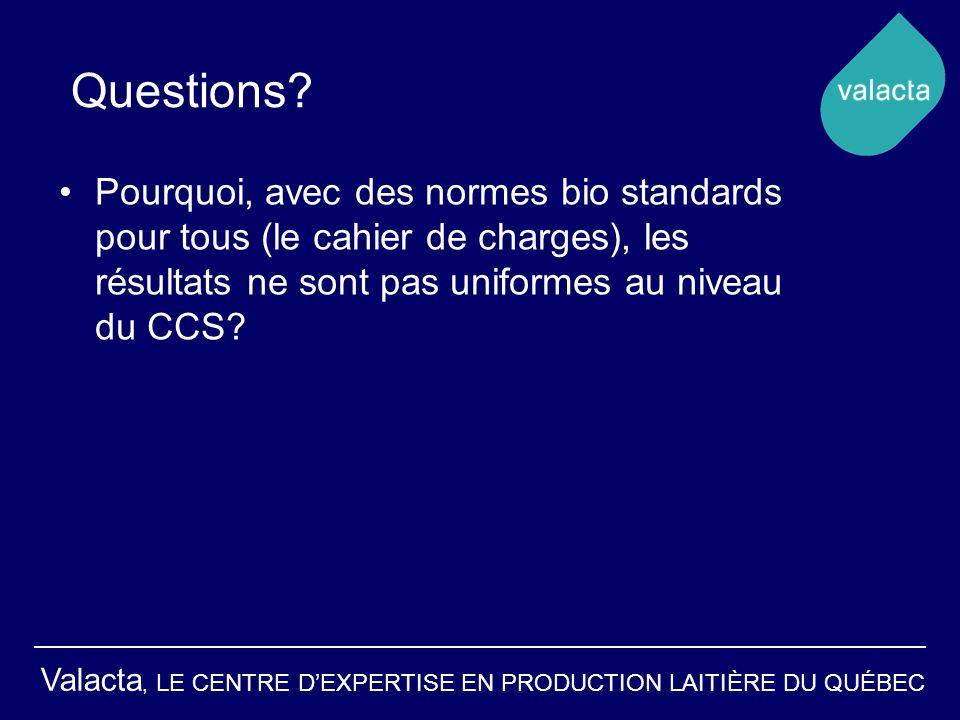 Valacta, LE CENTRE DEXPERTISE EN PRODUCTION LAITIÈRE DU QUÉBEC Questions? Pourquoi, avec des normes bio standards pour tous (le cahier de charges), le