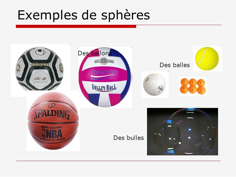Exemples de sphères Des ballons Des balles Des bulles