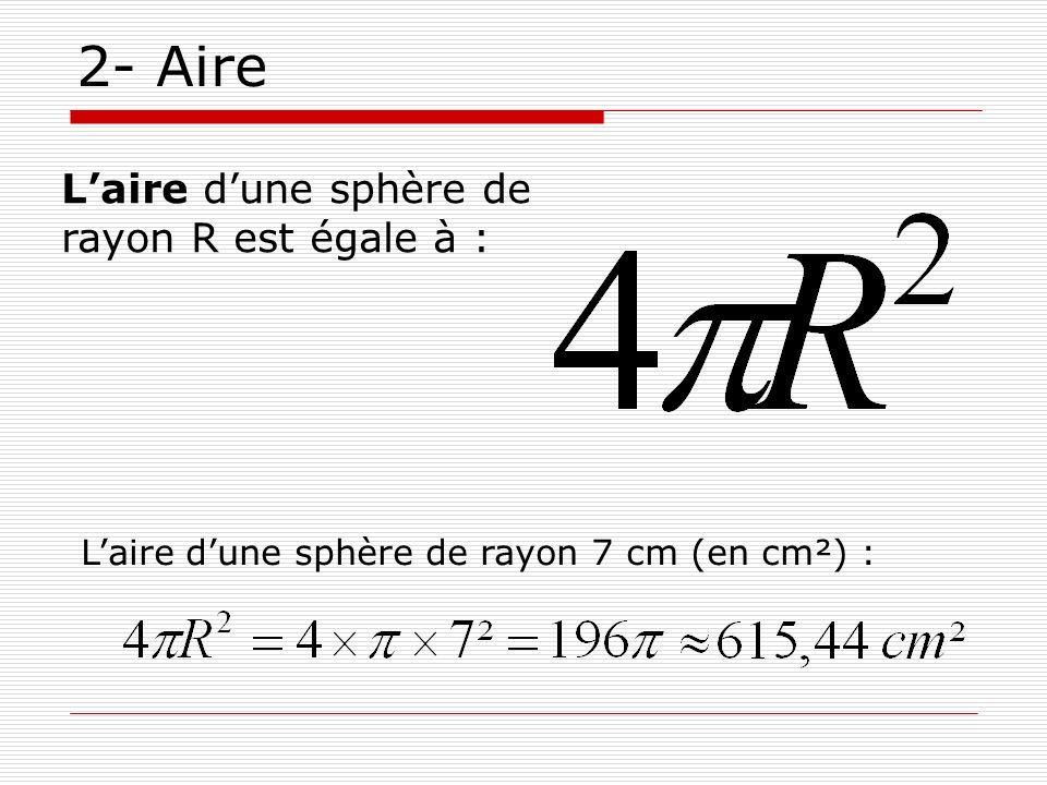 2- Aire Laire dune sphère de rayon 7 cm (en cm²) : Laire dune sphère de rayon R est égale à :