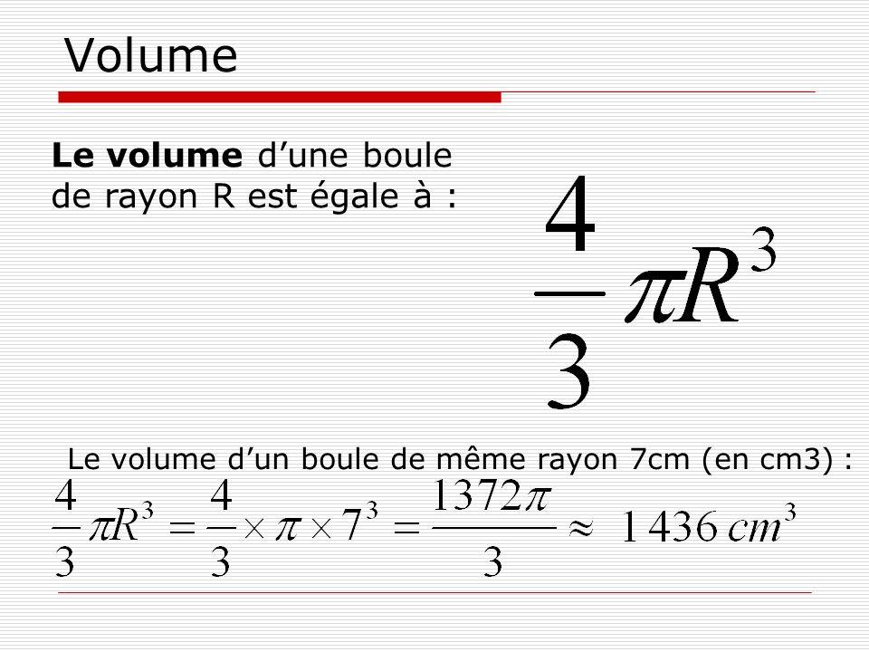 Volume Le volume dun boule de même rayon 7cm (en cm3) : Le volume dune boule de rayon R est égale à :