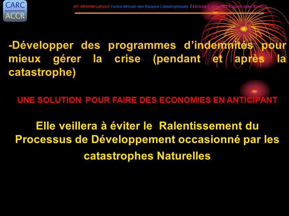 -Développer des programmes dindemnités pour mieux gérer la crise (pendant et après la catastrophe) UNE SOLUTION POUR FAIRE DES ECONOMIES EN ANTICIPANT