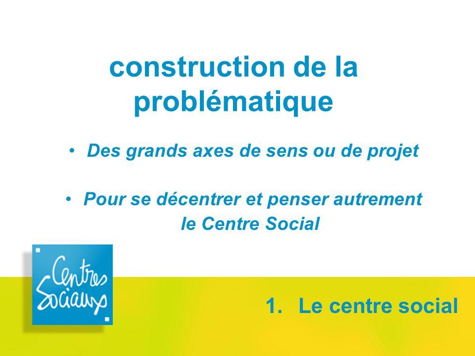 construction de la problématique 1. Le centre social Des grands axes de sens ou de projet Pour se décentrer et penser autrement le Centre Social