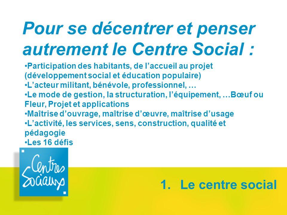 Pour se décentrer et penser autrement le Centre Social : 1. Le centre social Participation des habitants, de laccueil au projet (développement social